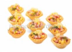 Мини-тарталетки из ветчины с сыром, 20 шт